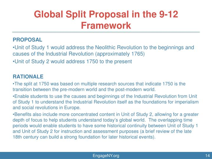 Global Split Proposal in the 9-12 Framework