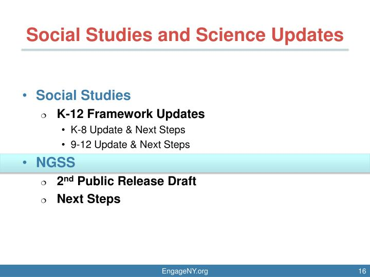 Social Studies and Science Updates