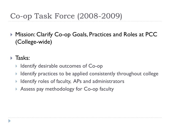 Co op task force 2008 2009
