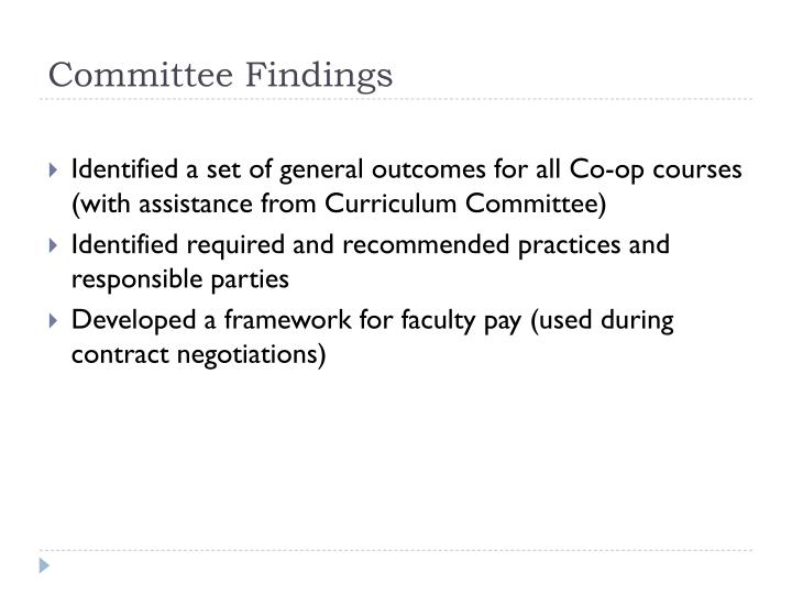 Committee Findings