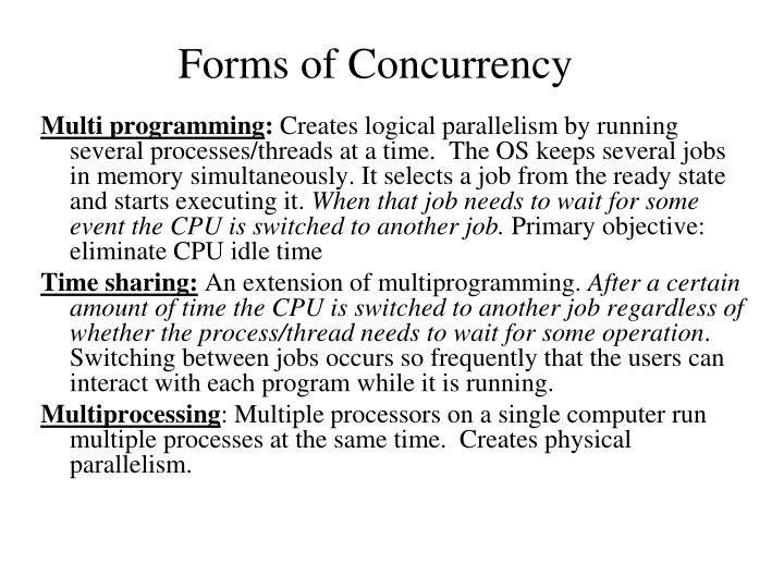 Forms of Concurrency