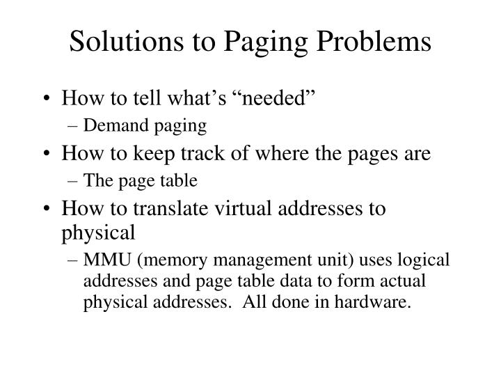 Solutions to Paging Problems