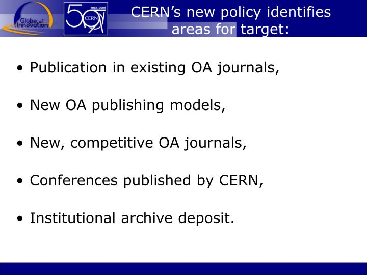 CERN's new policy identifies areas for target: