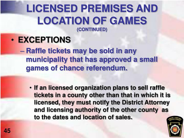 LICENSED PREMISES AND LOCATION OF GAMES