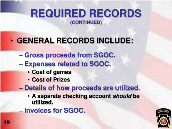 REQUIRED RECORDS