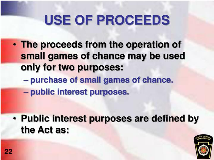 USE OF PROCEEDS