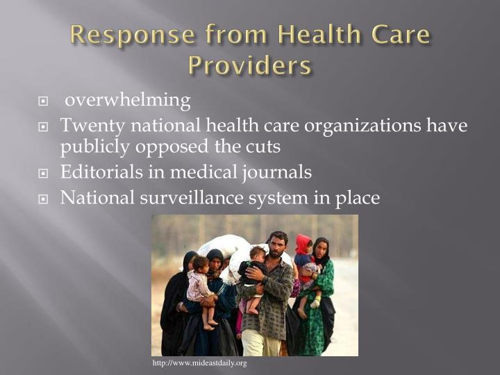 Response from Health Care Providers