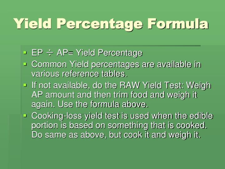 Yield Percentage Formula