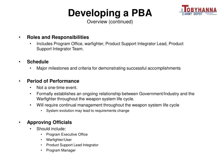 Developing a PBA