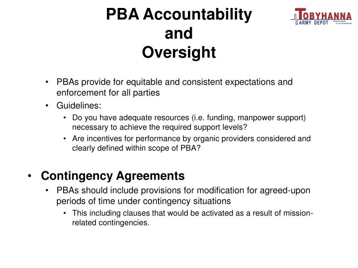 PBA Accountability and