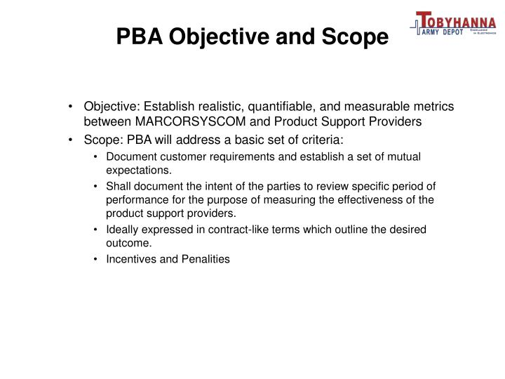 PBA Objective and Scope