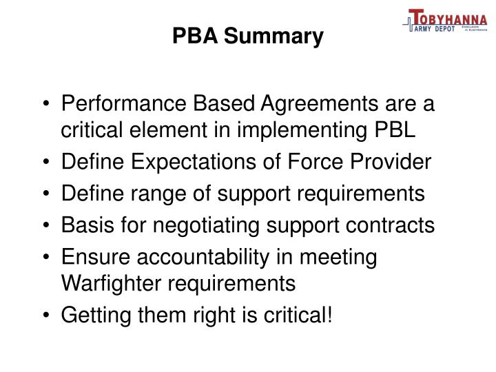 PBA Summary