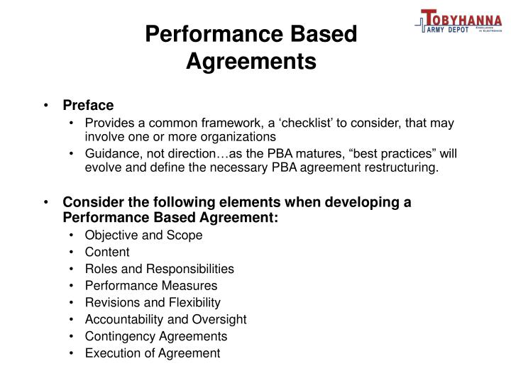 Performance Based Agreements