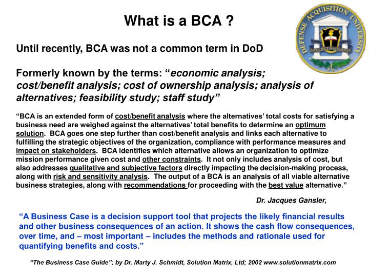 What is a BCA ?