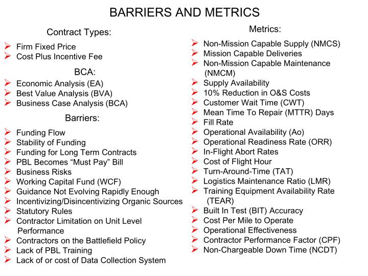 BARRIERS AND METRICS