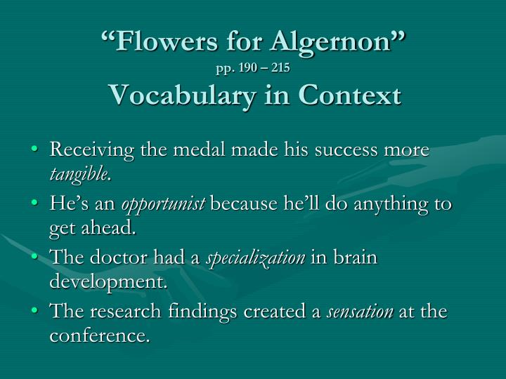 Flowers for algernon pp 190 215 vocabulary in context