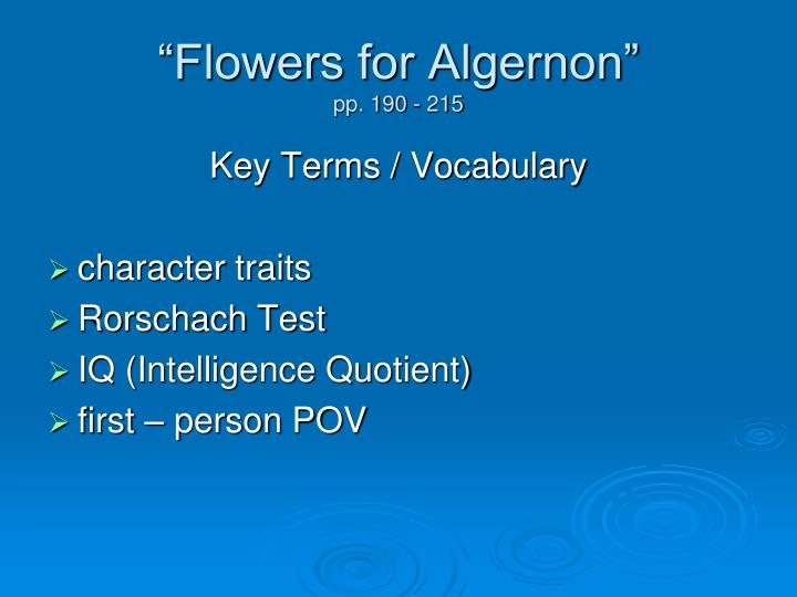 Flowers for algernon pp 190 2151