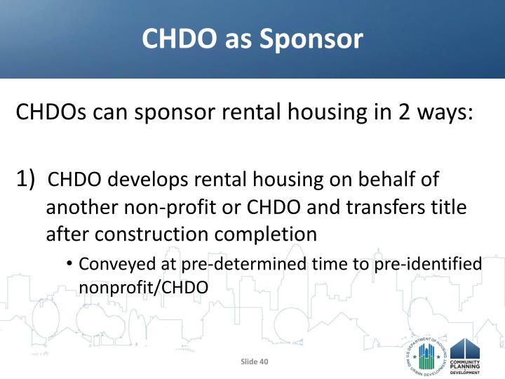 CHDO as Sponsor