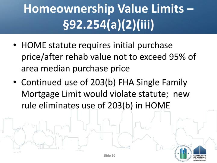 Homeownership Value Limits – §92.254(a)(2)(iii)