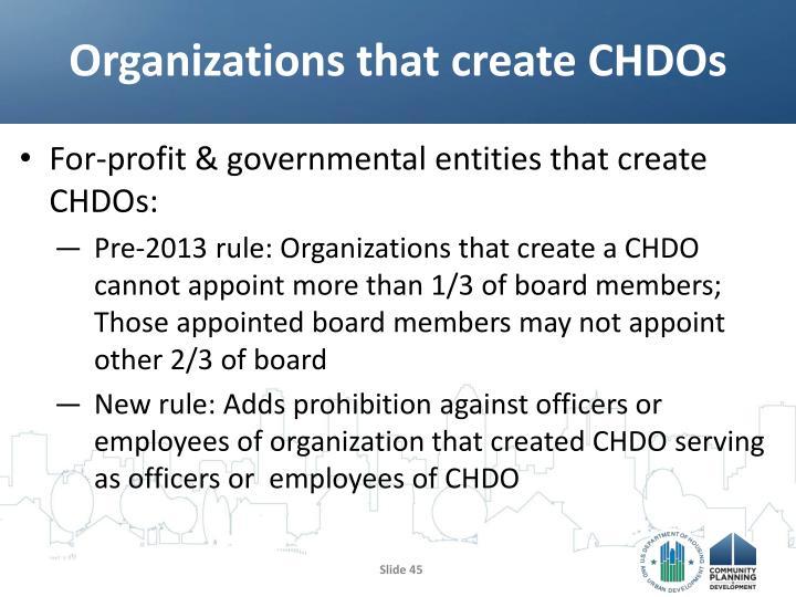 Organizations that create CHDOs
