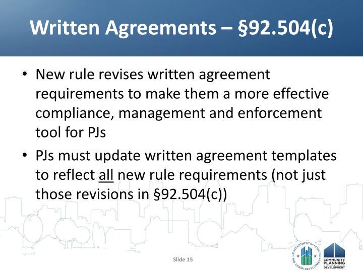 Written Agreements –