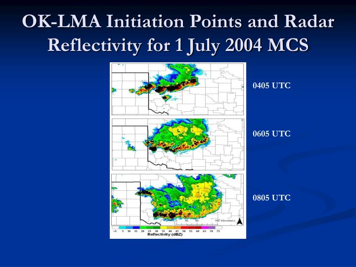 OK-LMA Initiation Points and Radar Reflectivity for 1 July 2004 MCS