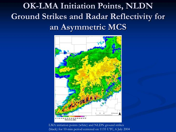 OK-LMA Initiation Points, NLDN Ground Strikes and Radar Reflectivity for an Asymmetric MCS