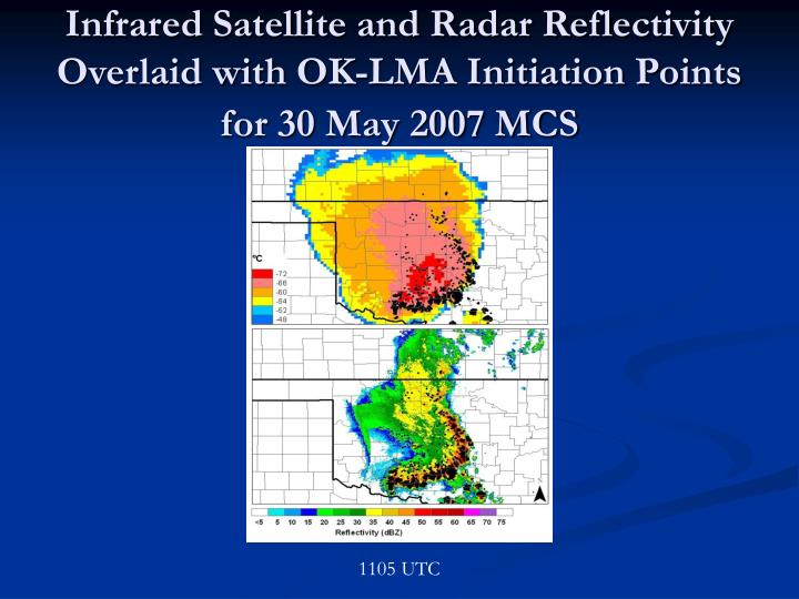 Infrared Satellite and Radar Reflectivity Overlaid with OK-LMA Initiation Points for 30 May 2007 MCS