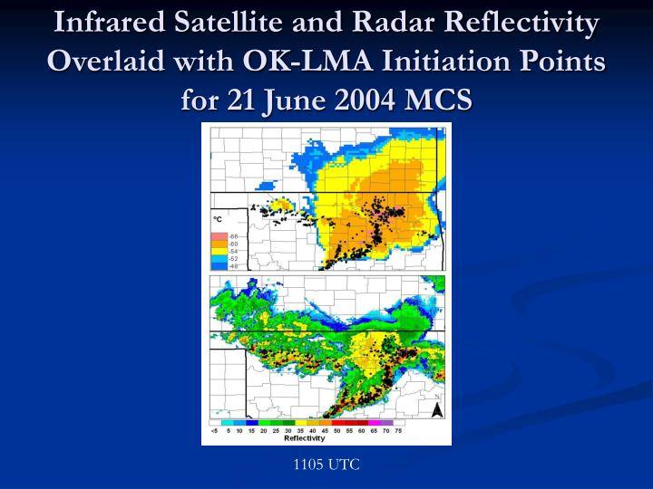 Infrared Satellite and Radar Reflectivity Overlaid with OK-LMA Initiation Points for 21 June 2004 MCS