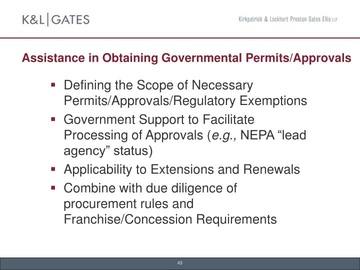 Assistance in Obtaining Governmental Permits/Approvals