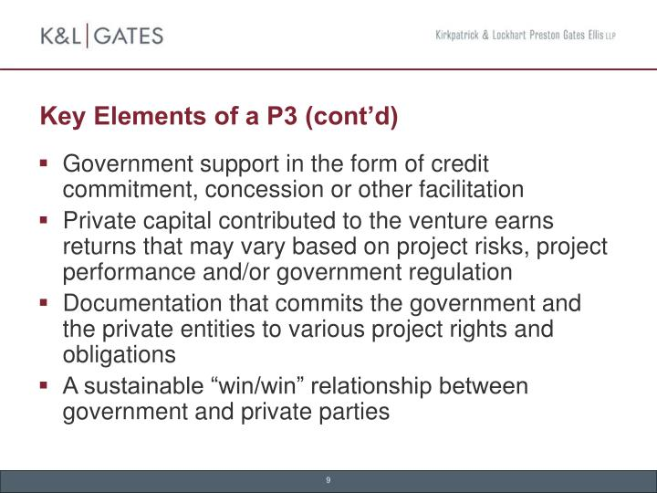 Key Elements of a P3 (cont'd)