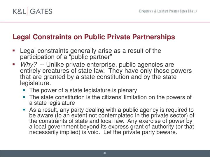 Legal Constraints on Public Private Partnerships