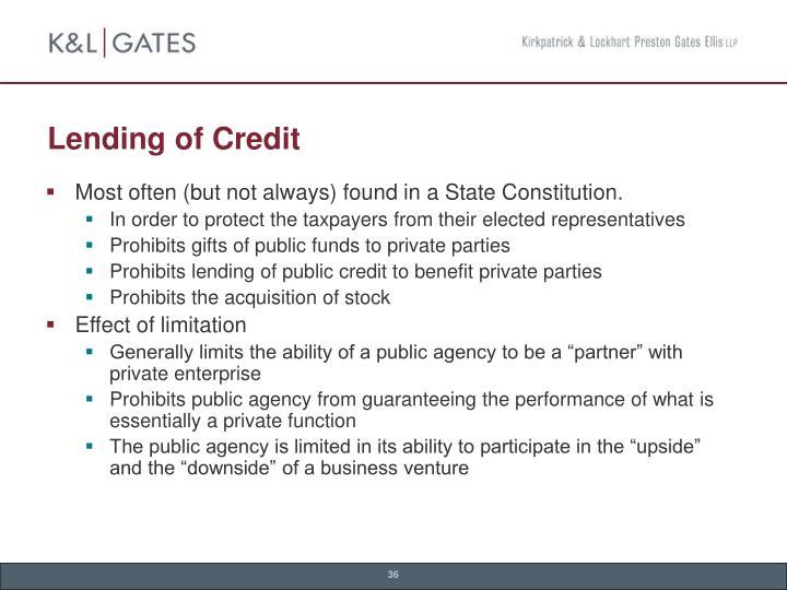 Lending of Credit