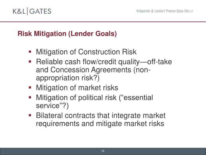 Risk Mitigation (Lender Goals)