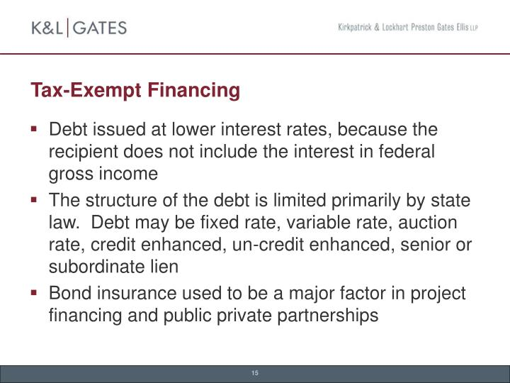 Tax-Exempt Financing