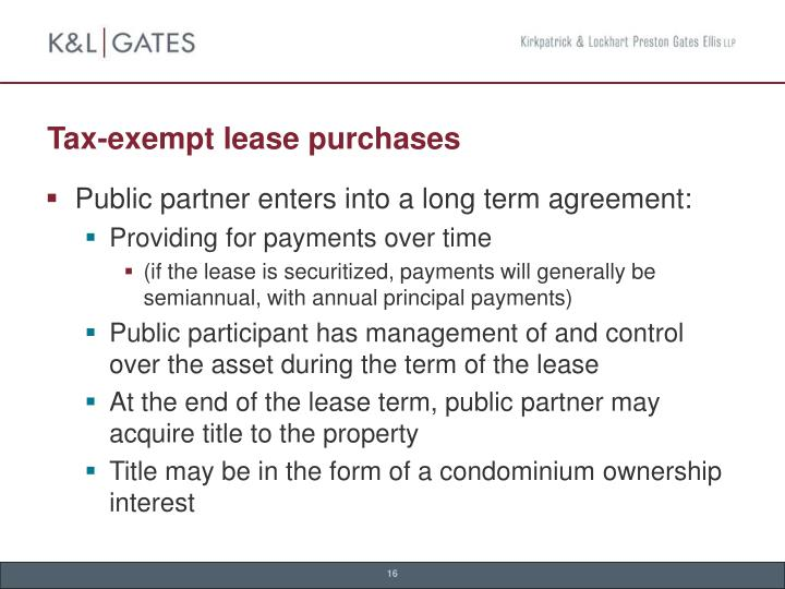 Tax-exempt lease purchases