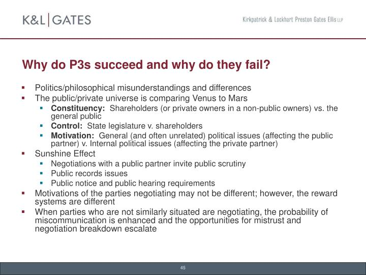 Why do P3s succeed and why do they fail?