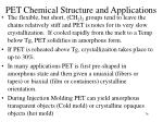 pet chemical structure and applications