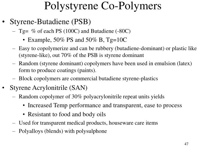 Polystyrene Co-Polymers