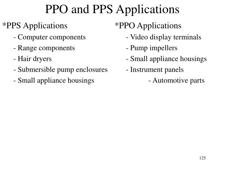 PPO and PPS Applications