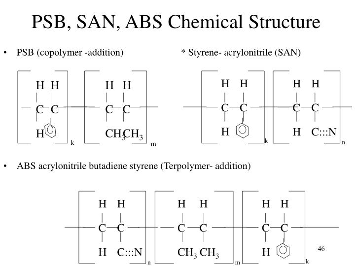 PSB, SAN, ABS Chemical Structure