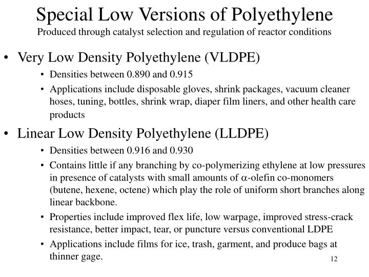 Special Low Versions of Polyethylene