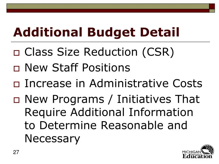 Additional Budget Detail