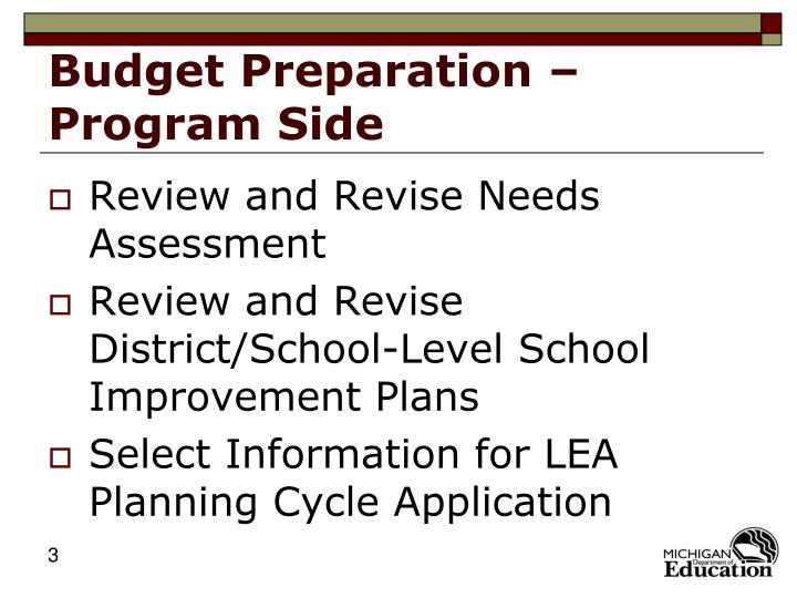 Budget preparation program side