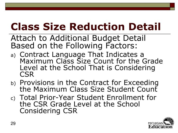 Class Size Reduction Detail