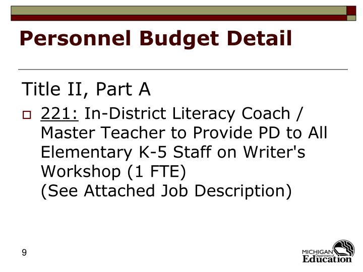Personnel Budget Detail