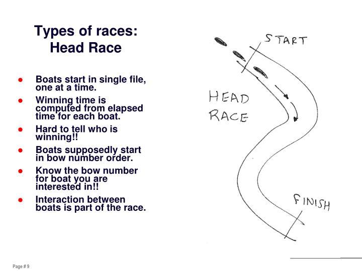 Types of races: Head Race
