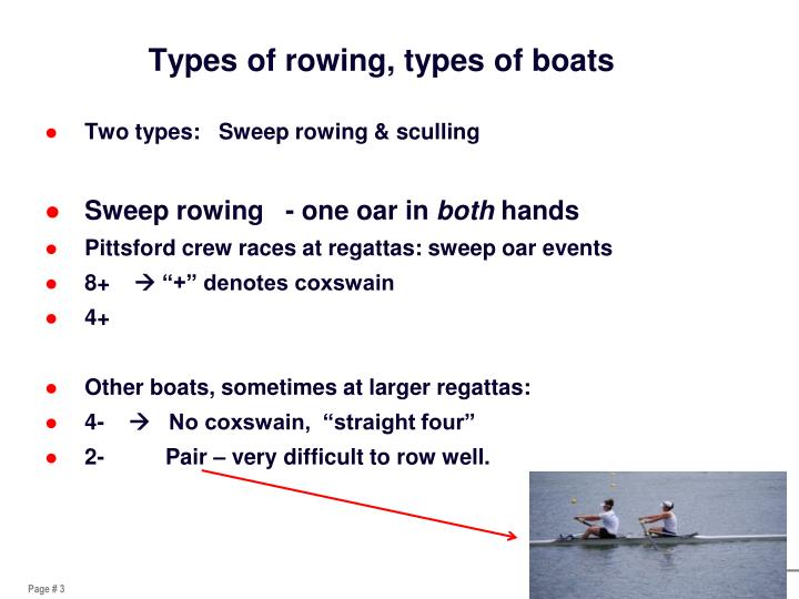 Types of rowing, types of boats