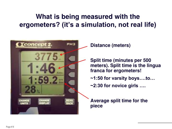 What is being measured with the ergometers? (it's a simulation, not real life)