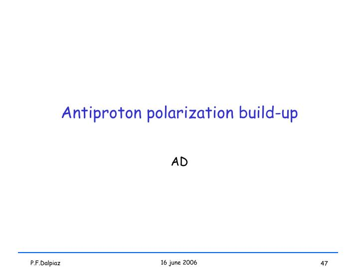 Antiproton polarization build-up